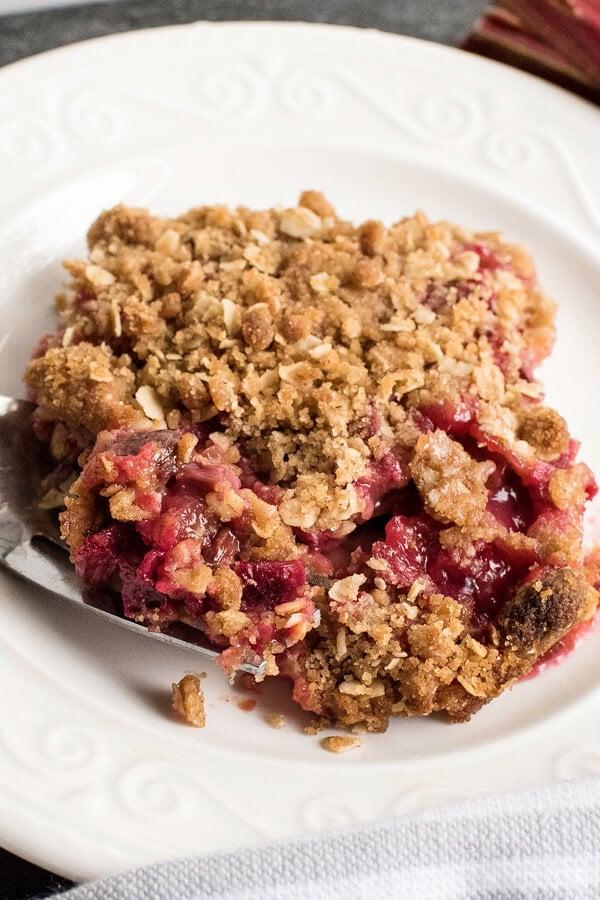 scoop of Rhubarb Crisp on plate