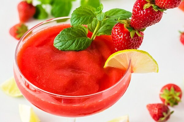 Strawberry Daiquiri made with strawberries, lime juice, and rum