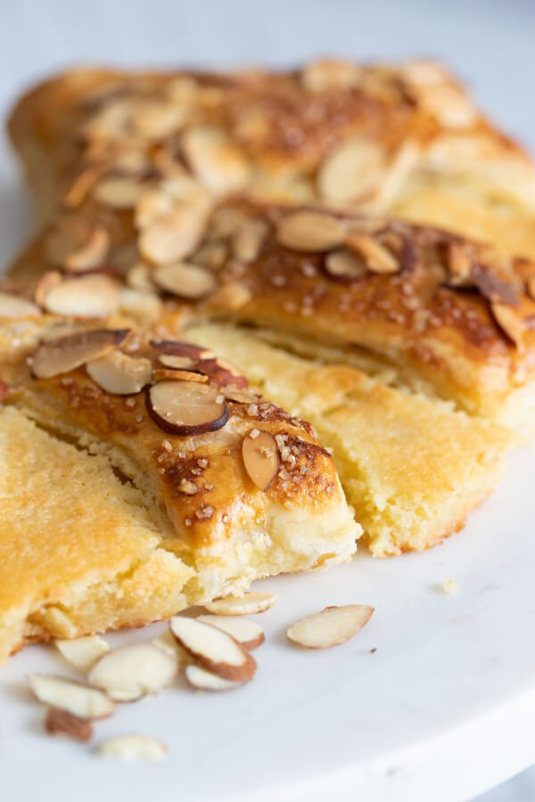 closeup of the almond bear claw pastry