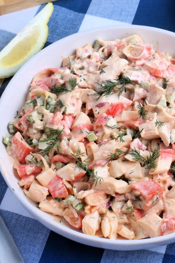closeup of crab salad in bowl