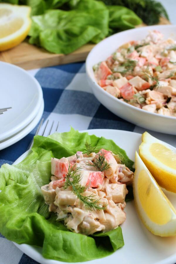 deli style crab salad on lettuce leaf