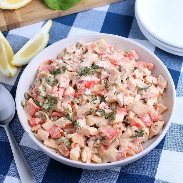 deli-style crab salad in bowl
