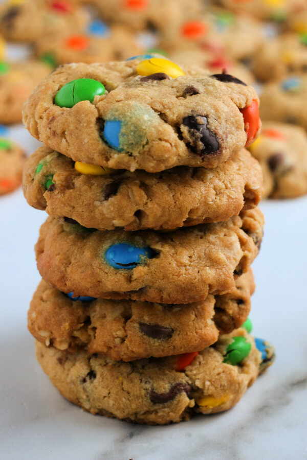 tall stack of Monster Cookies