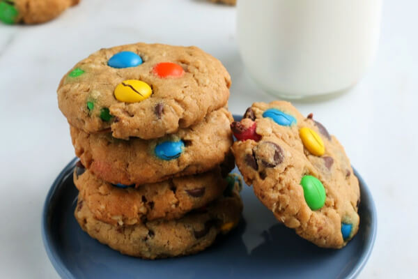Monster Cookies stacked on plate