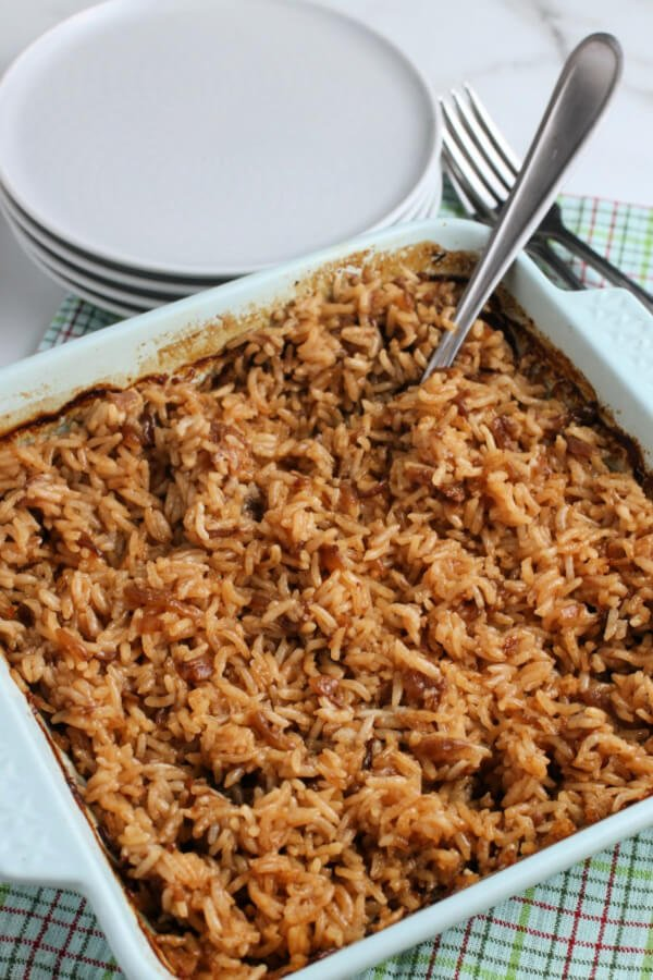 finished stick of butter rice in casserole dish