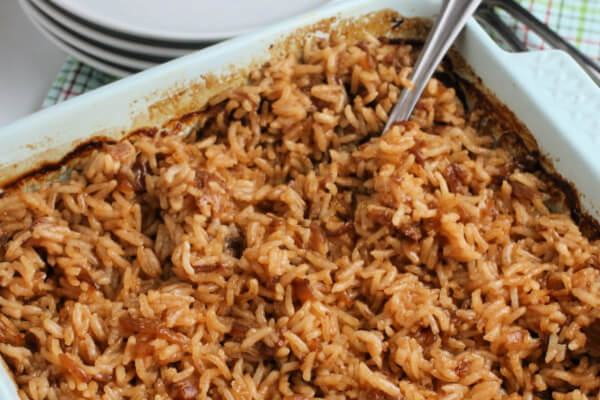 finished stick of butter rice in dish