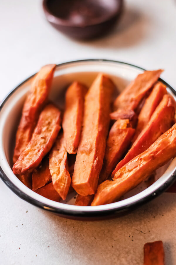 oven baked sweet potato fries in bowl