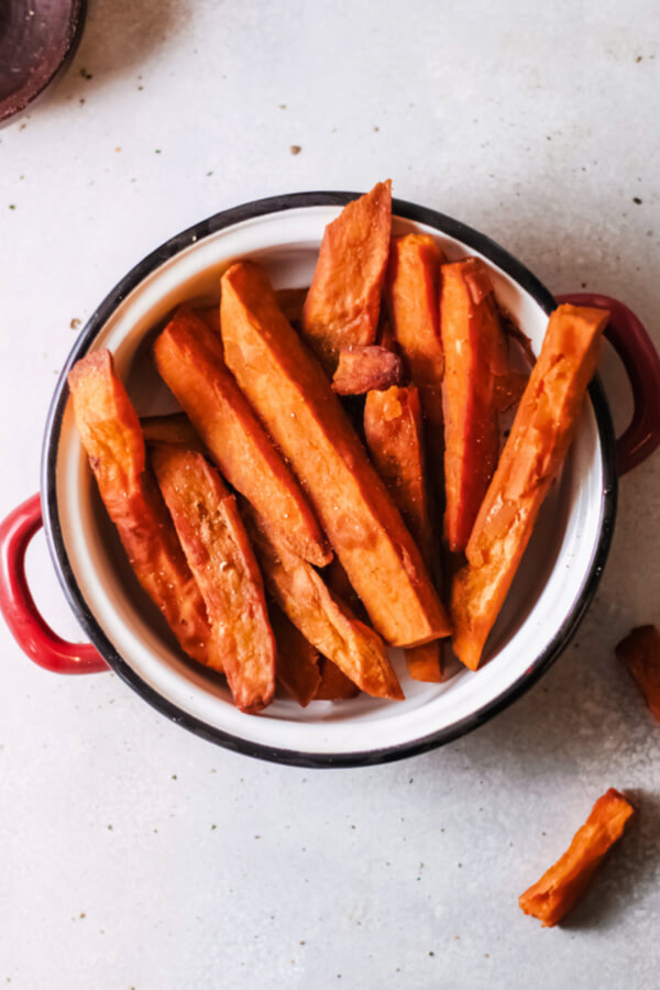 overhead of sweet potato fries in bowl