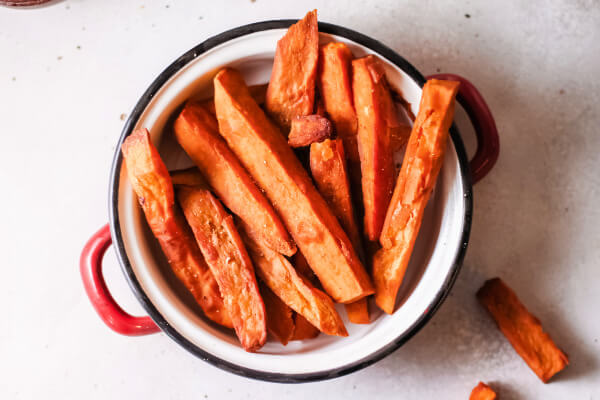 looking down into a bowl of sweet potato fries