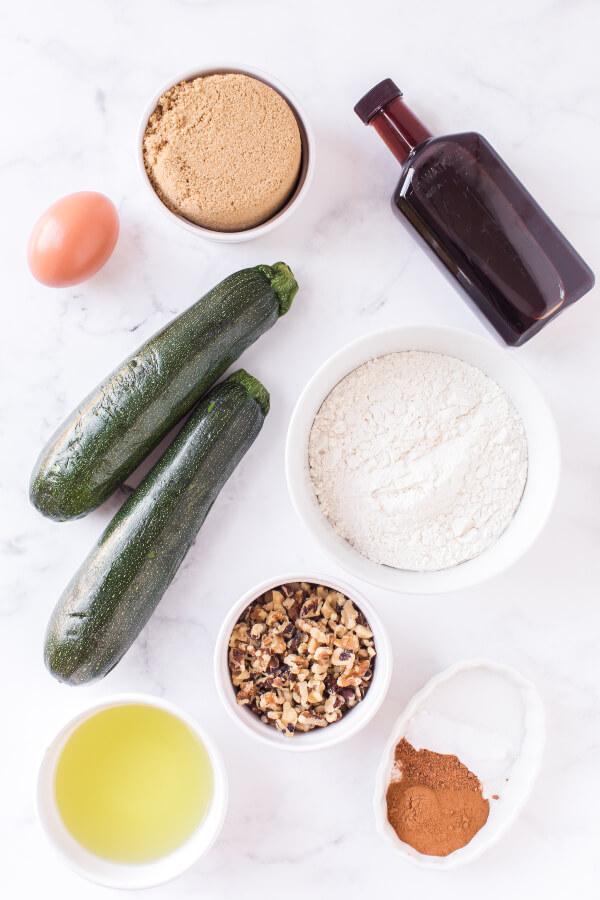 ingredients to make zucchini muffins
