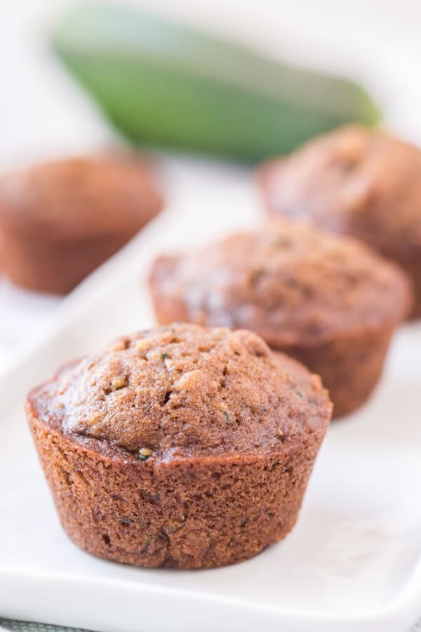 three muffins lined up on a diagonal