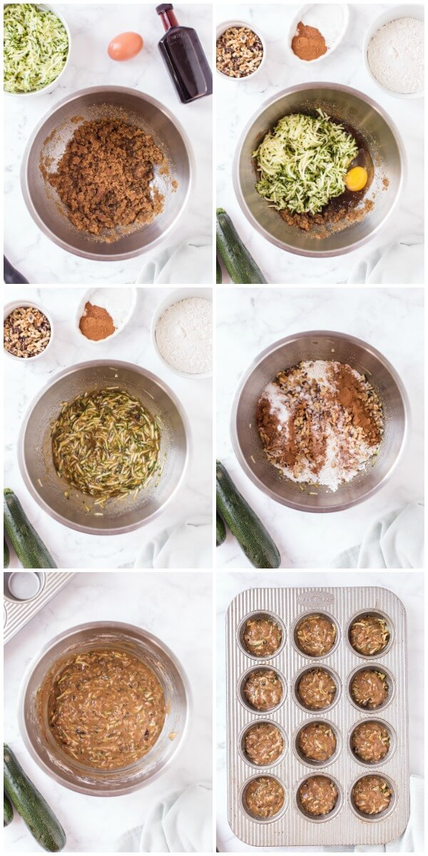 step by step how to make zucchini muffins
